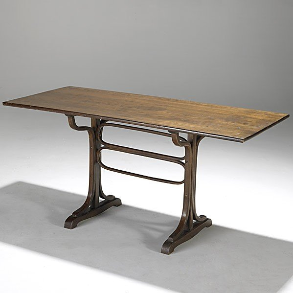 3: JOSEF HOFFMAN; J. & J. KOHN; Bentwood trestle table