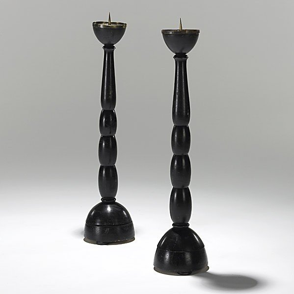 5: WIENER WERKSTATTE; Pair of tall candlesticks