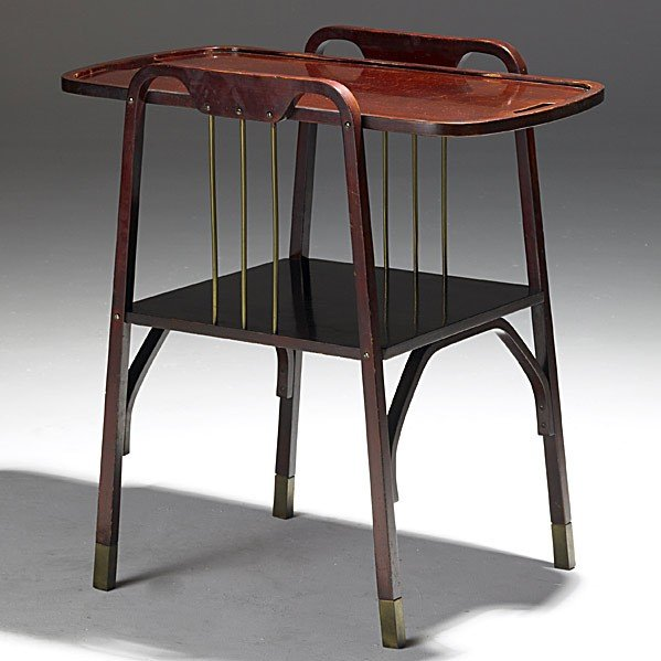 9: JOSEF HOFFMAN; THONET; Beech and brass sofa table
