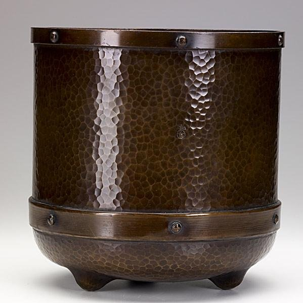 11: ROYCROFT; Rare hammered copper jardiniere