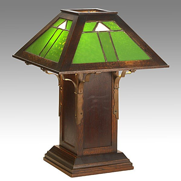 16: DARD HUNTER; ROYCROFT; Important table lamp