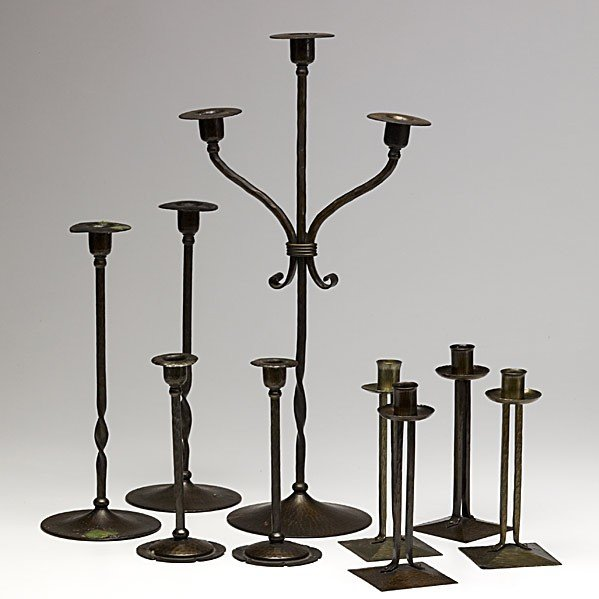 21: ROYCROFT; 4 pairs of candlesticks and one candelabr