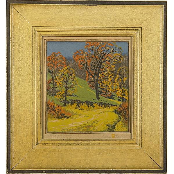242: GUSTAVE BAUMANN; Color woodblock print