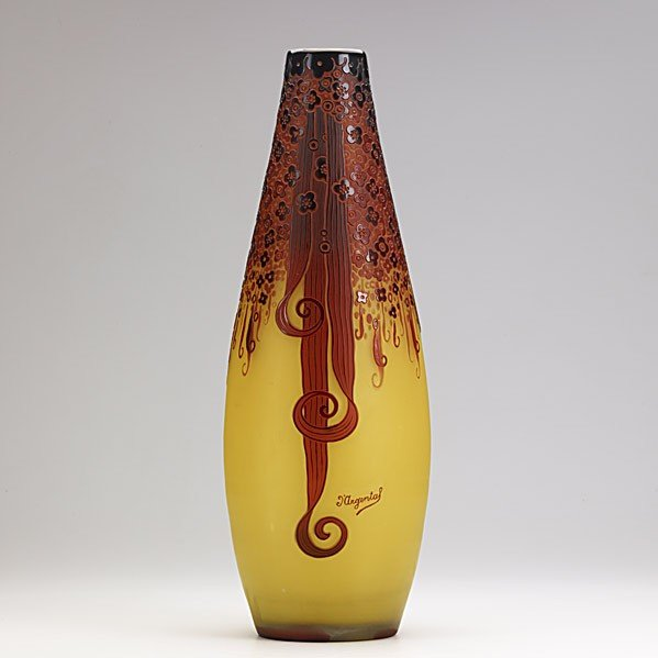 445: D'ARGENTAL; Tall Art Deco cameo glass vase