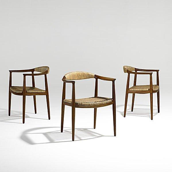 609: HANS WEGNER; JOHANNES HANSEN; 3 The Chairs