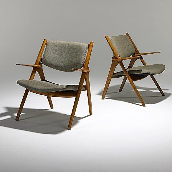 1008: HANS WEGNER; CARL HANSEN; Pair of Sawback chairs