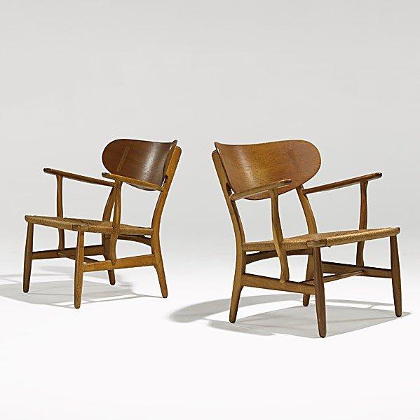 1010: HANS WEGNER; CARL HANSEN; Pair of armchairs