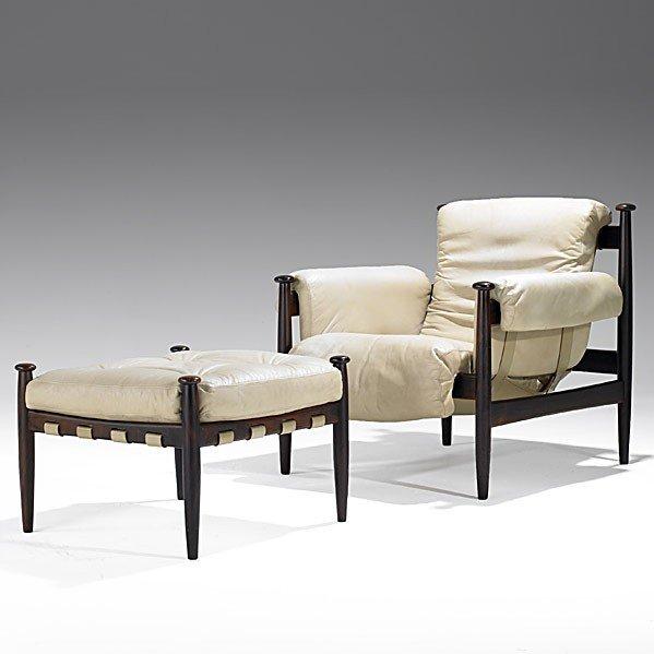 1015: FINN JUHL (Attr.); Lounge chair and ottoman