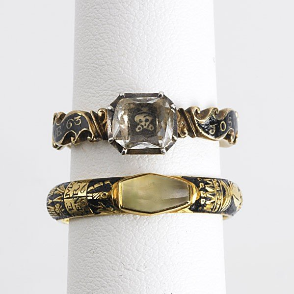 1005: TWO 18TH CENTURY ENAMELED GOLD MOURNING RINGS