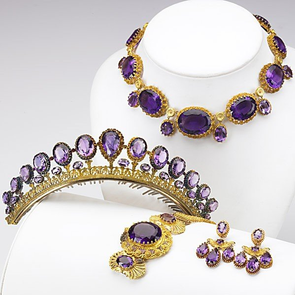 1014: AMETHYST AND GOLD CANNETILLE PARURE