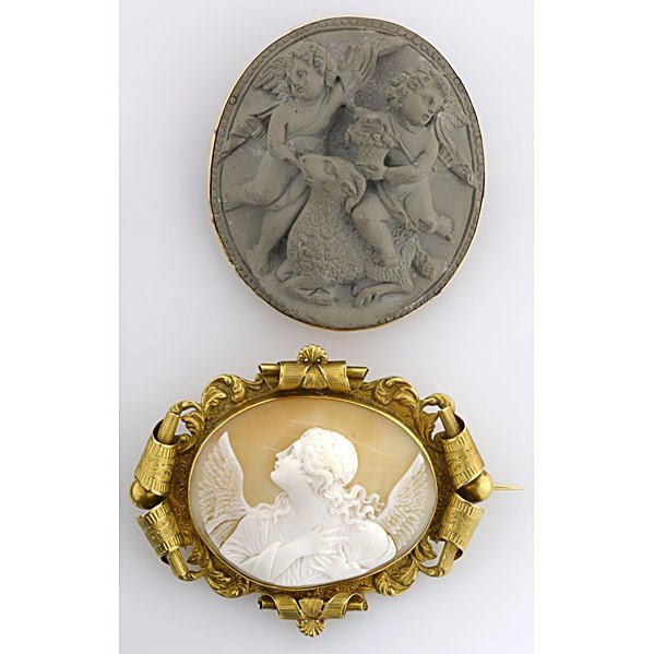 1016: TWO VICTORIAN GOLD AND CAMEO BROOCHES