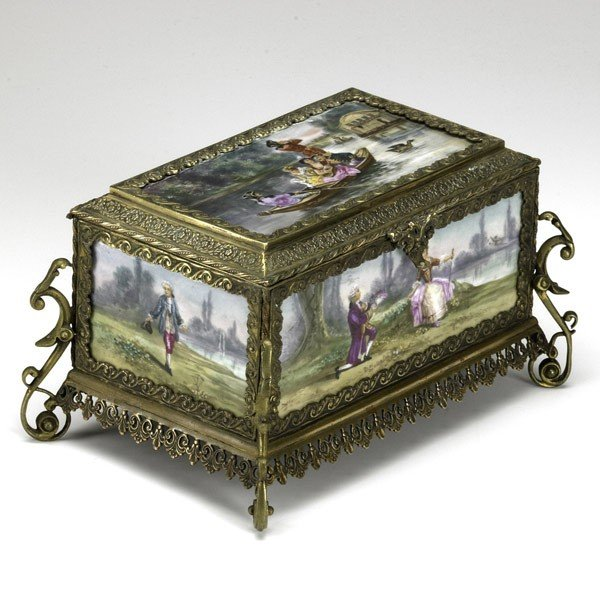 8: FRENCH PORCELAIN AND BRONZE CASKET