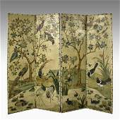 116 VICTORIAN FOUR PANEL PAINTED LEATHER SCREEN