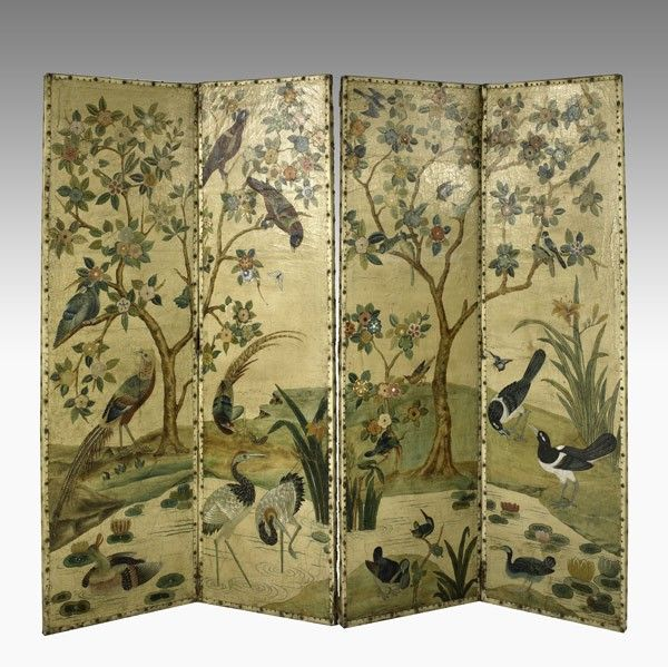 116: VICTORIAN FOUR PANEL PAINTED LEATHER SCREEN