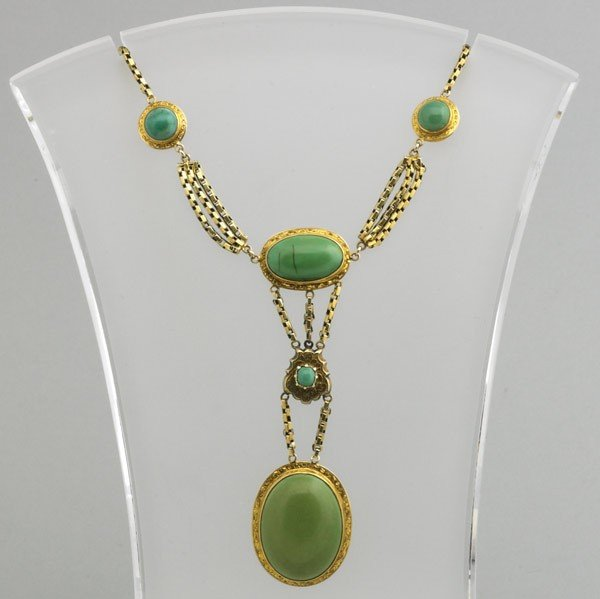 2009: 14K YELLOW GOLD SWAG NECKLACE WITH TURQUOISE