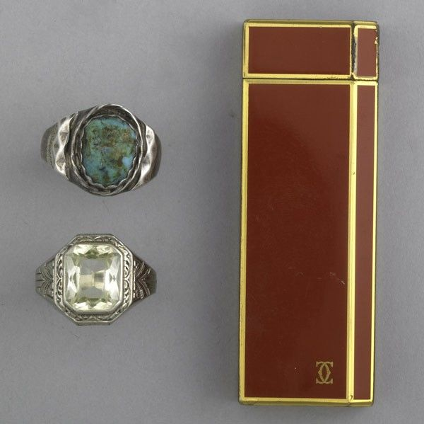 2124: ART DECO RINGS AND CARTIER LIGHTER