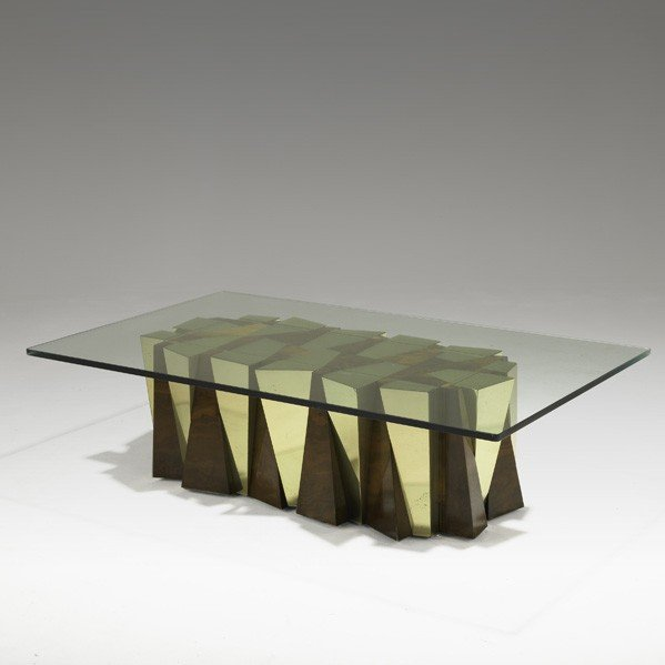 1008: PAUL EVANS; DIRECTIONAL; Faceted low table