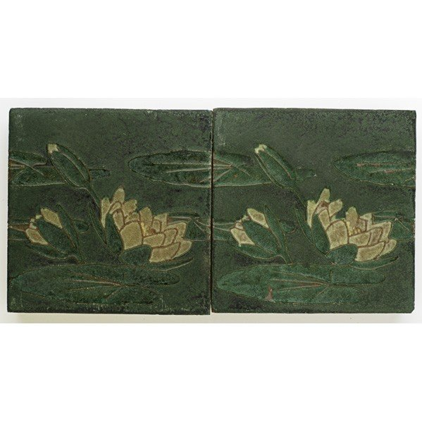 19: GRUEBY; Two tiles with lily pads