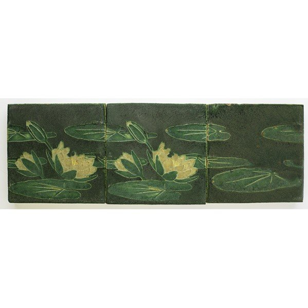 20: GRUEBY; Three tiles with lily pads