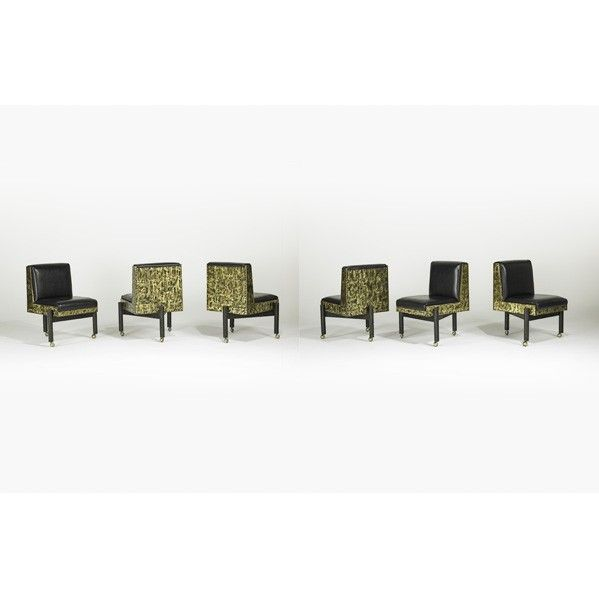 PAUL EVANS; DIRECTIONAL; Patchwork dining chairs