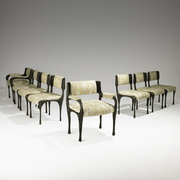 508: PAUL EVANS; Set of eight dining chairs