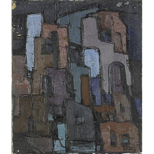 601: DONALD DESKEY: Three oil paintings