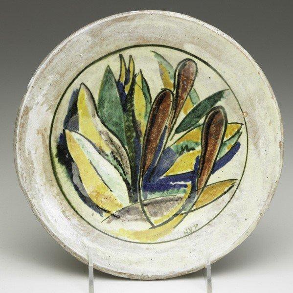 611: HENRY VARNUM POOR; Glazed faience plate