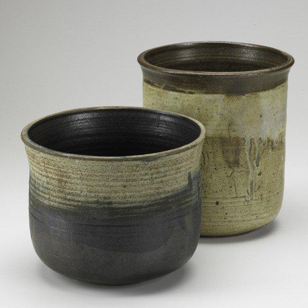 618: TOSHIKO TAKAEZU; Two glazed stoneware pots