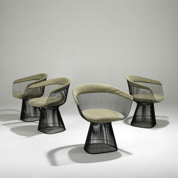 987: WARREN PLATNER; Set of four armchairs