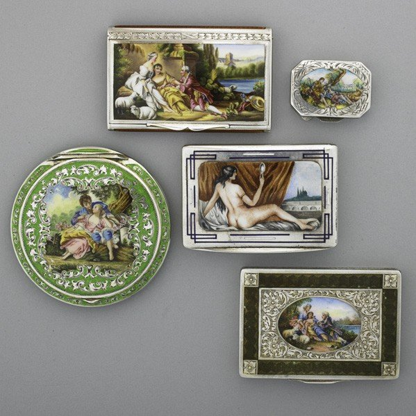 72: FIVE CONTINENTAL ENAMELED SILVER ACCESSORIES