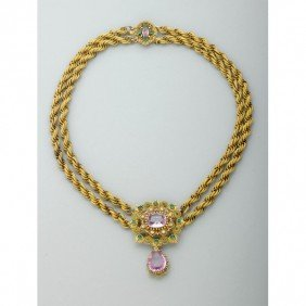 GEORGIAN JEWELED GOLD CANNETILLE NECKLACE