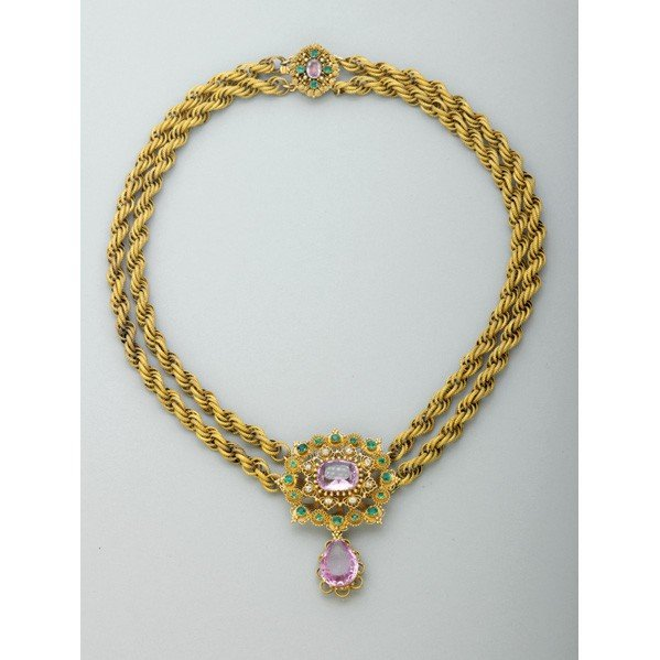 2002: GEORGIAN JEWELED GOLD CANNETILLE NECKLACE