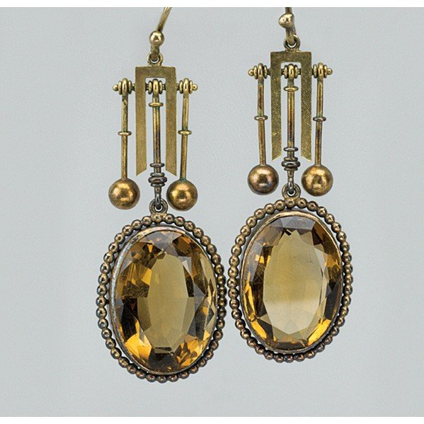 2004: PAIR OF ARCHEOLOGICAL REVIVAL CITRINE EARRINGS