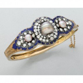 2005: ENAMELED GOLD DIAMOND PEARL BRACELET