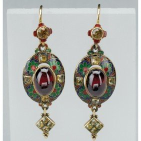 RARE PAIR OF HOLBEINESQUE ENAMELED GOLD EARRINGS