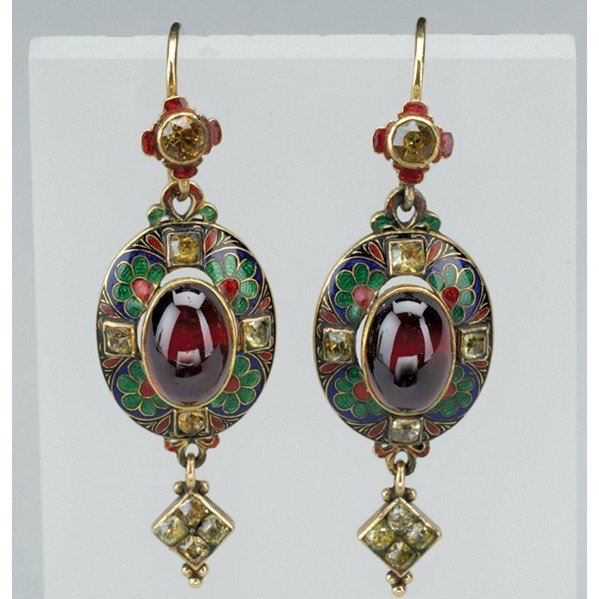 2008: RARE PAIR OF HOLBEINESQUE ENAMELED GOLD EARRINGS