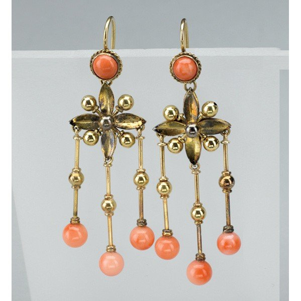 2009: ARCHAEOLOGICAL REVIVAL CORAL AND GOLD EARRINGS