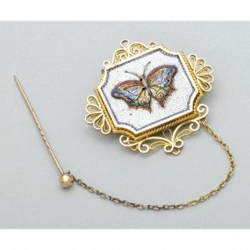MICROMOSAIC AND GOLD BUTTERFLY BROOCH