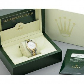 2120: ROLEX STAINLESS STEEL, 18K GENTLEMAN'S WRISTWATCH