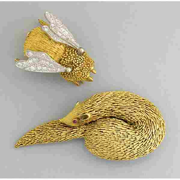 2253: TIFFANY & CO. FIGURAL FRENCH GOLD BROOCHES