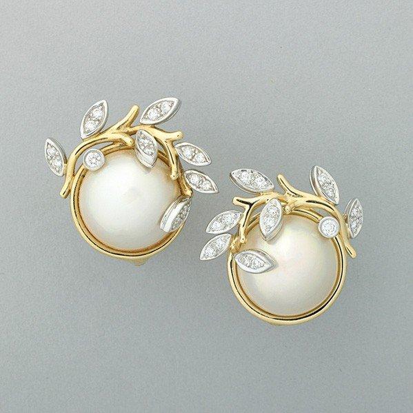 2323: TIFFANY ''GARLAND'' MABE PEARL DIAMOND EARRINGS