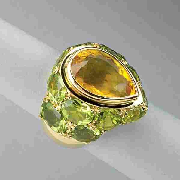 PERIDOT AND CITRINE GOLD RING