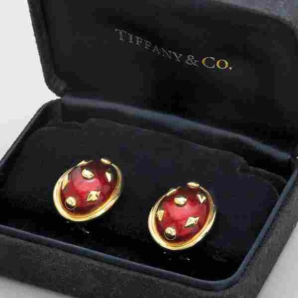 TIFFANY & CO. ENAMELED GOLD EARRINGS