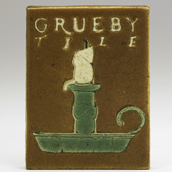 36: GRUEBY; Tile with candle