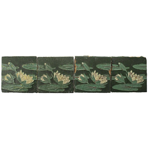 37: GRUEBY; Four waterlilly tiles