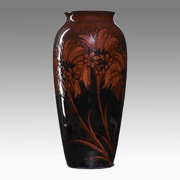 290: MOORCROFT; Tall red flambe vase