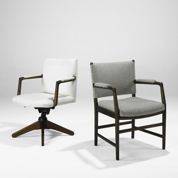 609: ARNE JACOBSEN AND HANS WEGNER; Two chairs