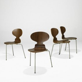 ARNE JACOBSEN; Four Ant Chairs