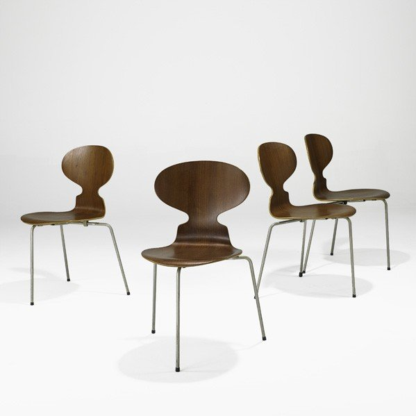 628: ARNE JACOBSEN; Four Ant chairs