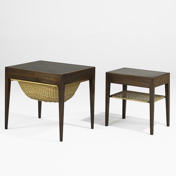 633: SEVERIN HANSEN; Sewing table and nightstand